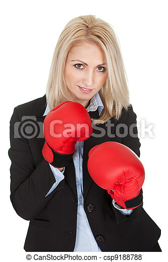 Beautiful businesswomen posing with boxing gloves - csp9188788