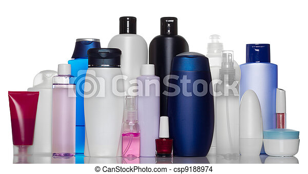 Collection of bottles of health and beauty products - csp9188974
