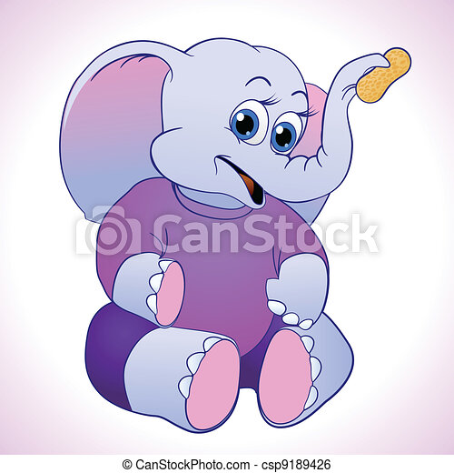 cute and cuddly cartoon elephant holding up a peanut  - csp9189426