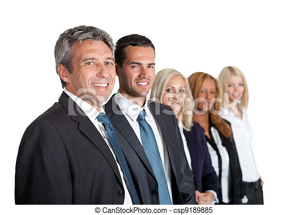 Group of business people in a line - csp9189885