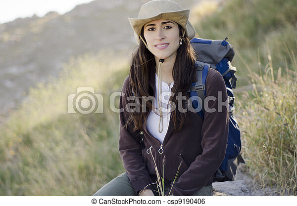 Young woman on a hiking trip - csp9190406