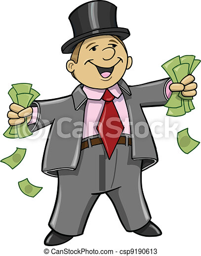 Rich Business Man with money - csp9190613