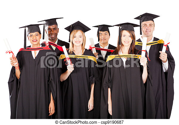 group of multiracial graduates on white - csp9190687