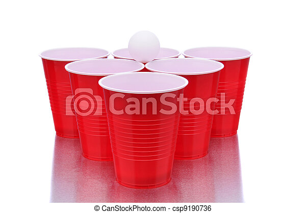 Red Cups and Ping Pong Ball - csp9190736