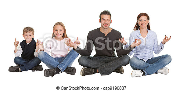 Couple sitting in yoga position - csp9190837