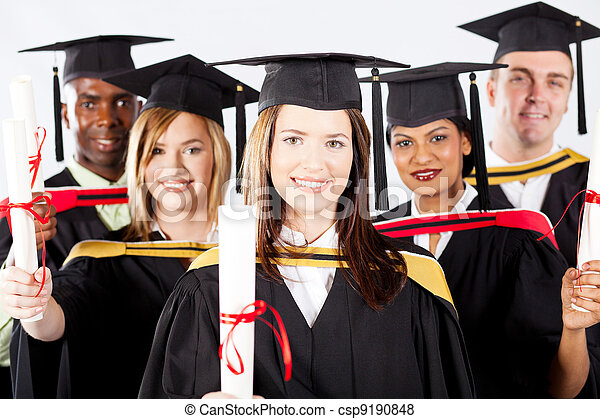 graduates in graduation gown and cap - csp9190848