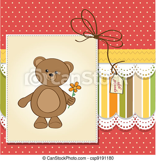 happy birthday card with teddy bear - csp9191180