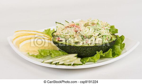 Crab meat salad with green caviar in avocado - japan cusine - csp9191224