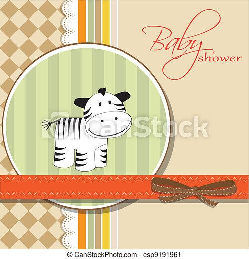 childish greeting card with zebra  - csp9191961