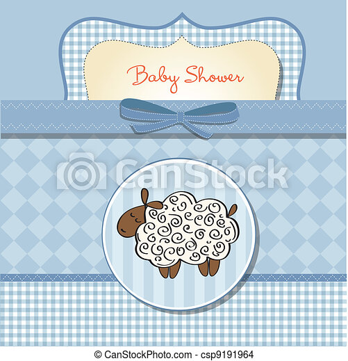 cute baby shower card with sheep - csp9191964