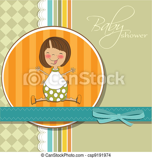 delicate girl shower card  - csp9191974