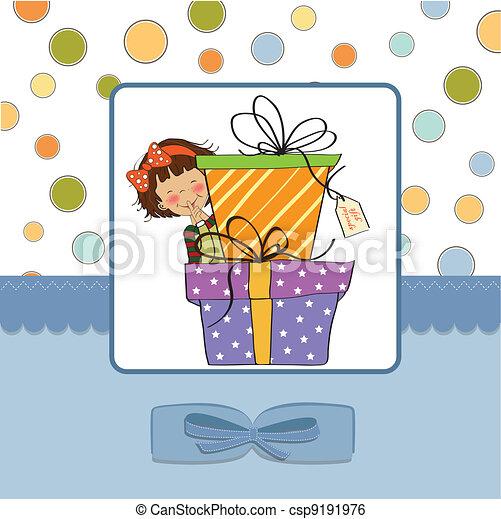 cute little girl hidden behind boxe - csp9191976