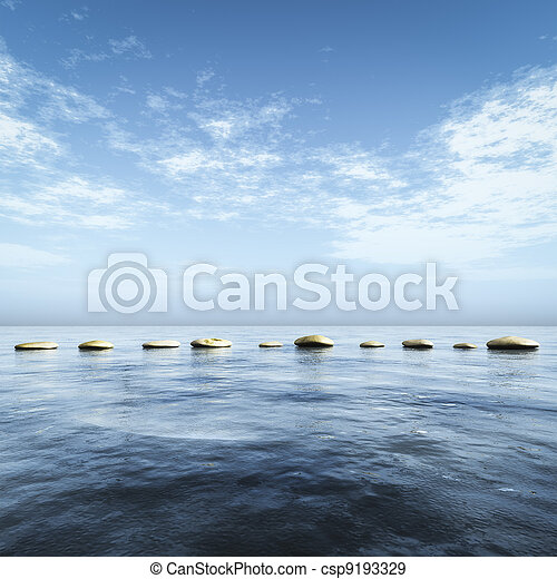 step stones in the blue sea - csp9193329