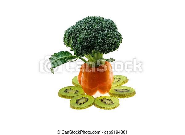 Capsicum Tree With Kiwi And Broccoli - csp9194301