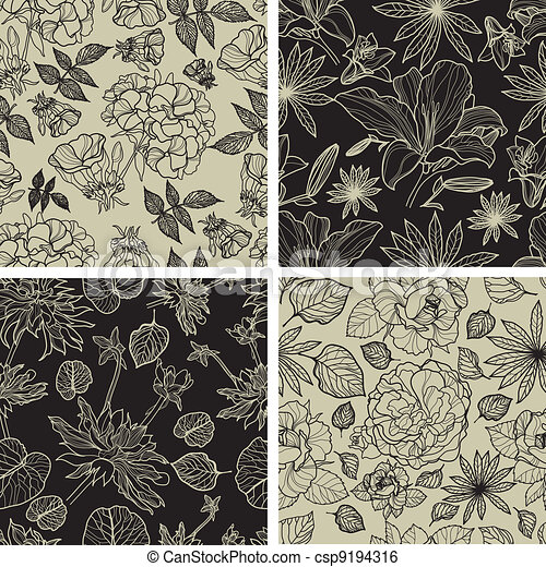 Set of seamless floral patterns - csp9194316