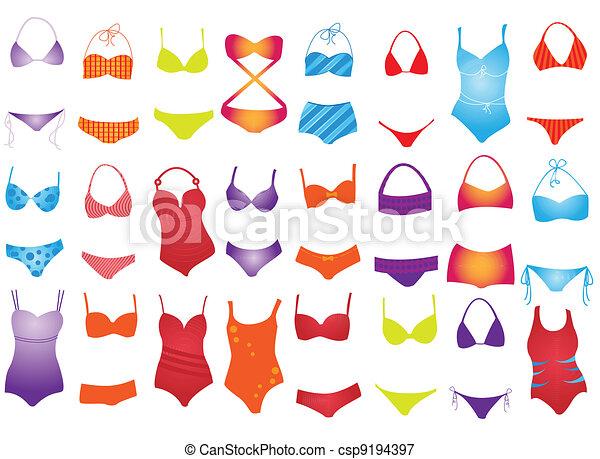 Illustrations vectoris es de maillot de bain diff rent maillot de bain sur blanc - Dessin de maillot de bain ...