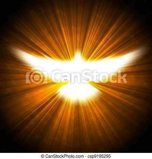 shining dove with rays on a dark  - csp9195295