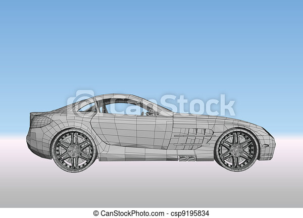 Car with grid. Vector - csp9195834