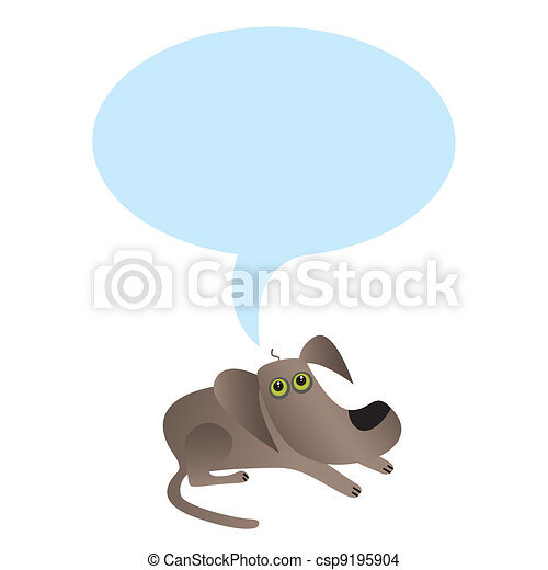Little dog with speech bubble - csp9195904