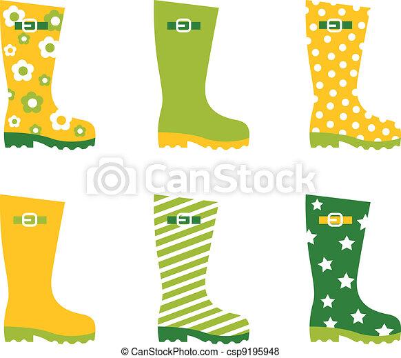 Spring wellington rain boots set isolated on white - csp9195948