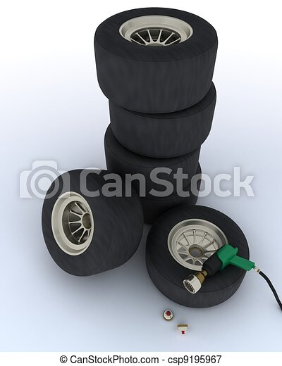 race car tires for pit stop - csp9195967