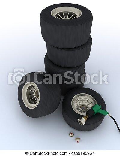 race car tires for pit stop - csp9195967