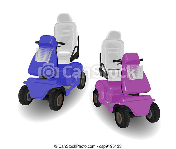 Two Mobility Scooter Illustrations - csp9196133
