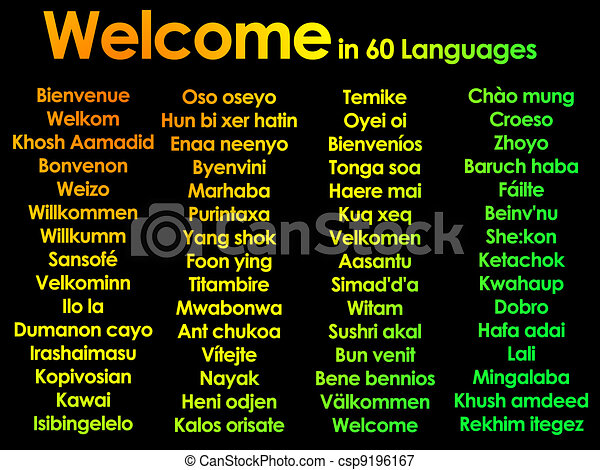 Welcome written in 60 different languages - csp9196167