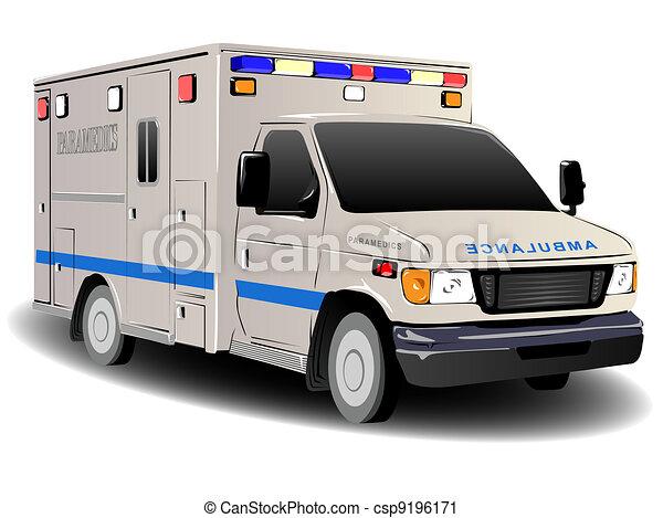 Modern Emergency Services Ambulance Illustration - csp9196171
