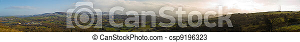 English Green Rolling Hills Panoramic View - csp9196323