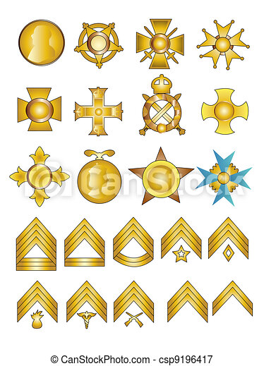 Military Badges Medals and Rank Chevrons - csp9196417