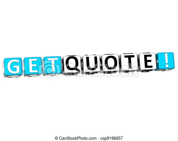 3D Get Quote Block Text  on white - csp9196657
