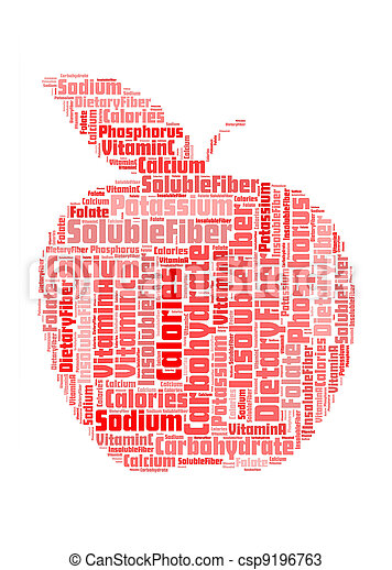 apple with info nutrition-text graphics and arrangement concept on white background (word cloud) - csp9196763