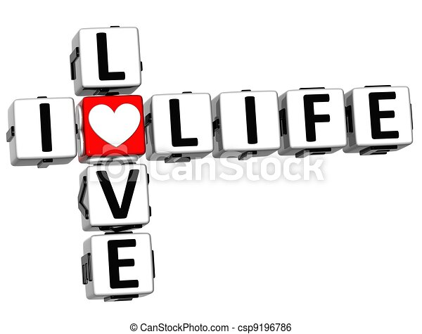 3D I Love Life Crossword Block text - csp9196786