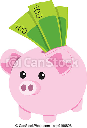Piggy Bank and Notes - csp9196826