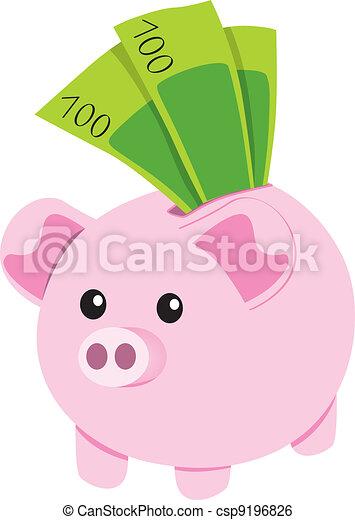 Piggy Bank and Notes - csp9196826