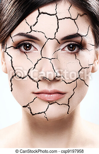 Woman portrait - Dried skin concept - csp9197958