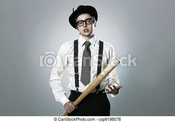 Gangster with  baseball bat - csp9198078