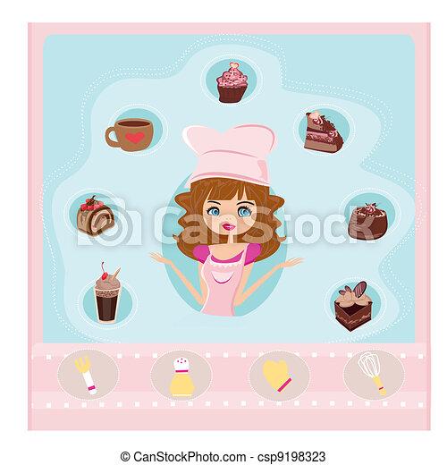 beautiful Housewife cooking dessert - csp9198323