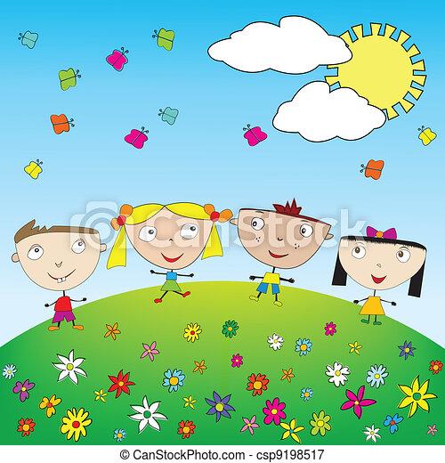 Happy kids outdoor - csp9198517
