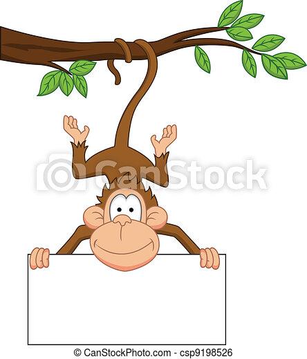 Clip Art Vector Of Monkey Cartoon With Blank Sign