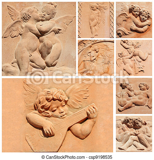 tuscan craft collage, angelic reliefs in terracotta, Italy - csp9198535