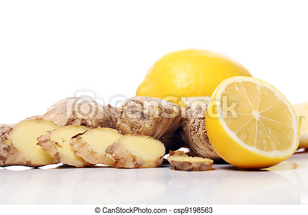 Fresh ginger root and lemon - csp9198563