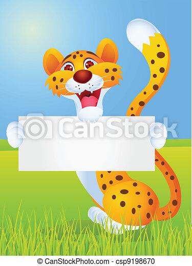 Cheetah cartoon with blank sign  - csp9198670