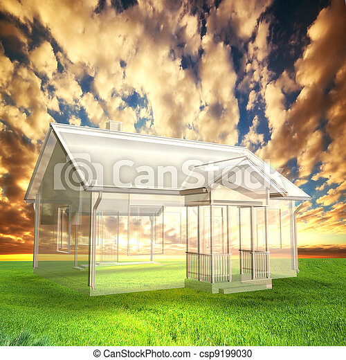 New house vision, project on field at sunset - csp9199030