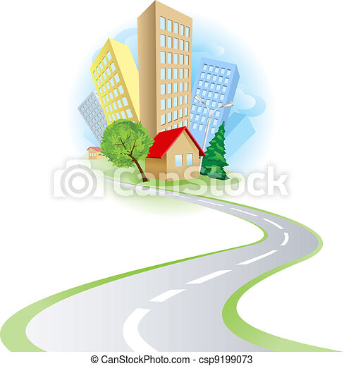 Townhouses cottages and the road - csp9199073