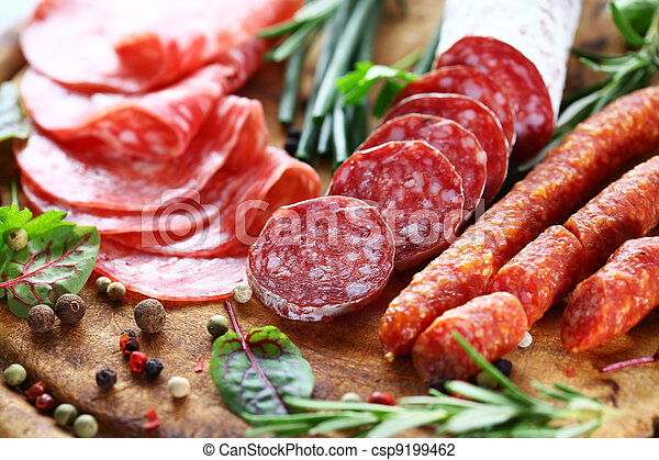 Italian ham and salami with herbs - csp9199462