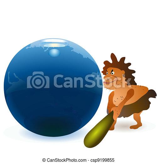 Caveman striking the globe with big - csp9199855