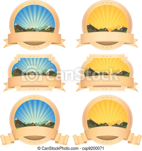 Summer Mountains Banner And Scroll Ribbons - csp9200071