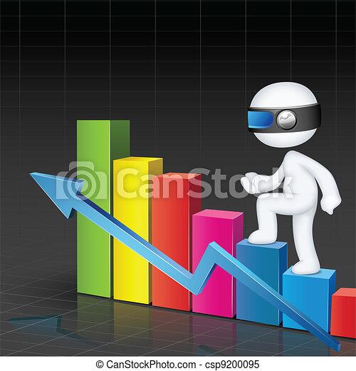 3d Man climbing Bar Graph - csp9200095